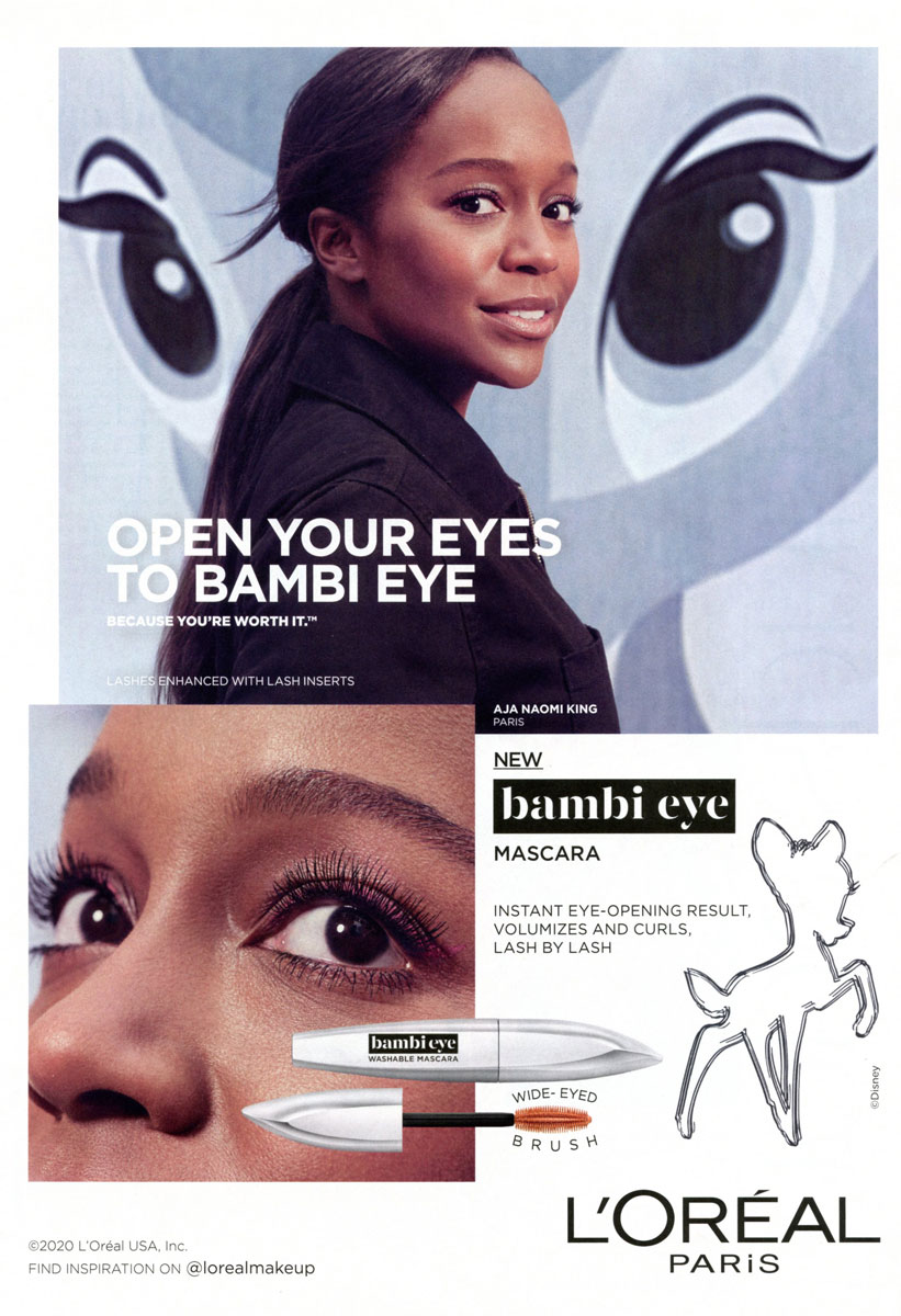 Aja Naomi King for L'Oreal Bambi Eye Mascara
