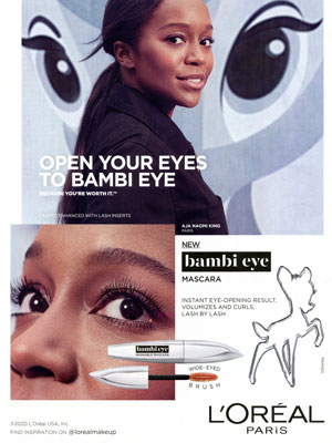 Aja Naomi King L'Oreal celebrity beauty ads