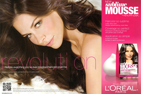 Evangeline Lilly L'Oreal Sublime Mousse celebrity endorsements