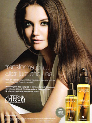 Katie Holmes Alterna Haircare celebrity endorsement ads