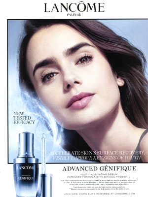 Lily Collins Lancome Advanced Genifique Ad