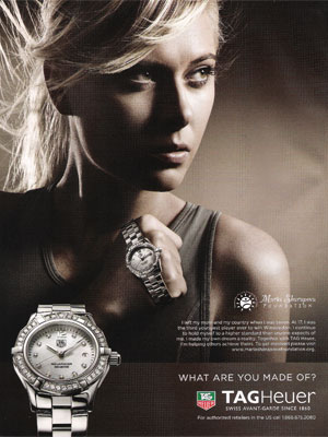 Maria Sharapova Tag Heuer Watches celebrity endorsements