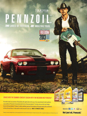 Tim McGraw Pennzoil celebrity endorsement ads