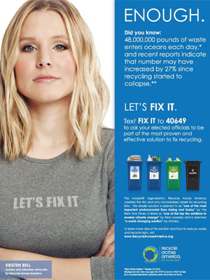 Kristen Bell Recycle Across America ad